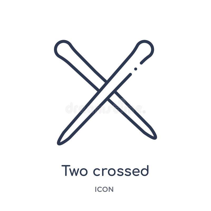 deux ont croisé des baguettes d'icône du Japon d'icône du Japon de collection d'ensemble d'outils et d'ustensiles La ligne mince  illustration stock