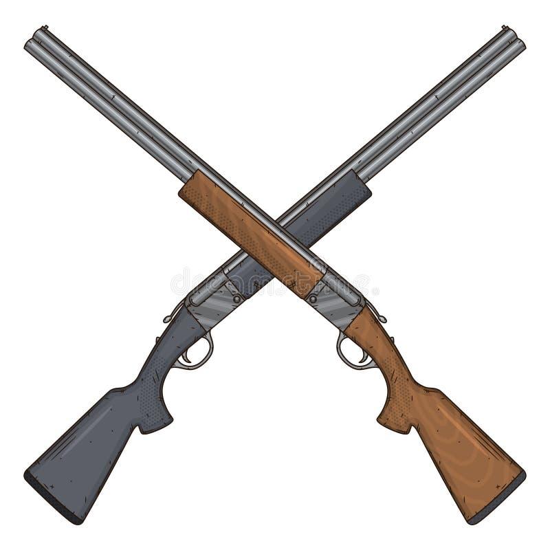 Deux ont croisé les fusils de chasse, illustration de vecteur sur le fond blanc Arme à feu de chasse illustration libre de droits