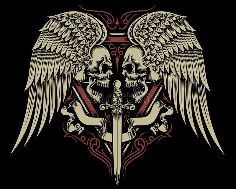 Deux ont fait face au crâne avec les ailes et l'épée illustration stock