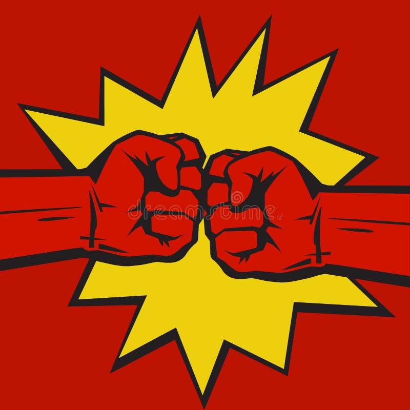 Deux ont serré des poings se cognant ensemble sur le fond comique d'éclat d'art de bruit Le concept du conflit, confrontation illustration de vecteur