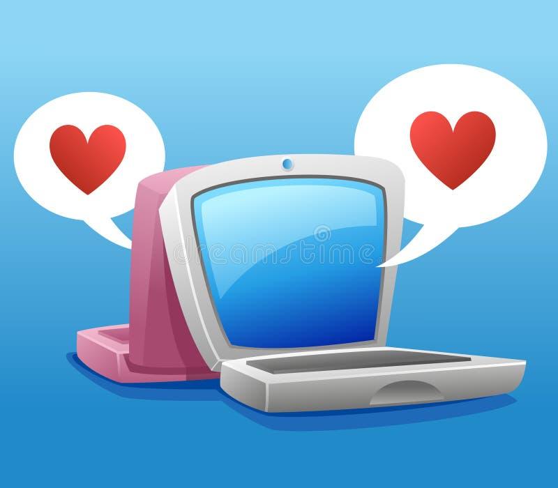 Deux ordinateur portatif et symbole de coeur illustration libre de droits