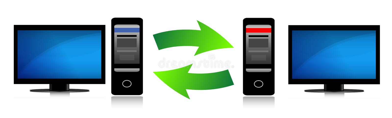 Deux ordinateurs connectés. illustration de vecteur