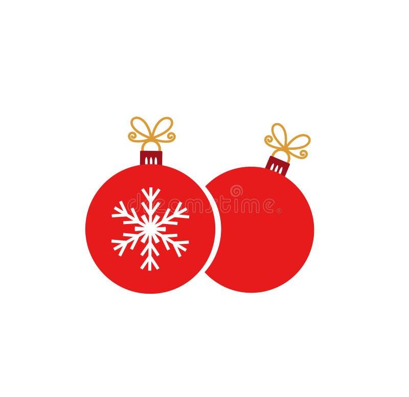 Deux ornements rouges de boules de Noël sur le fond blanc illustration libre de droits