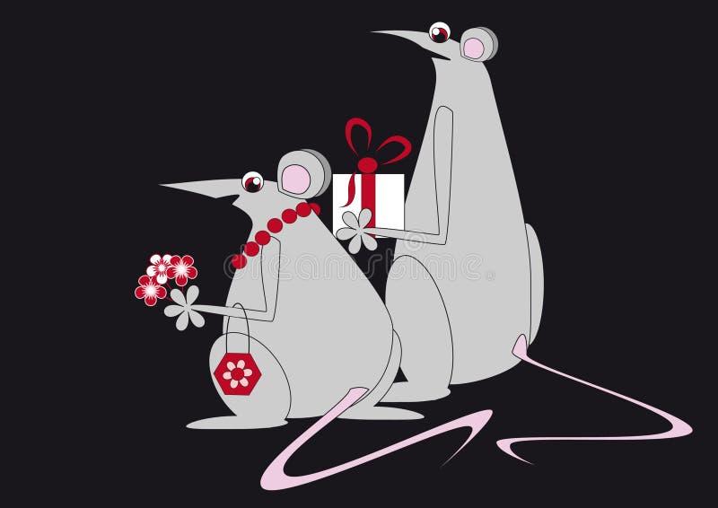 Deux ou trois la souris va visiter illustration de vecteur