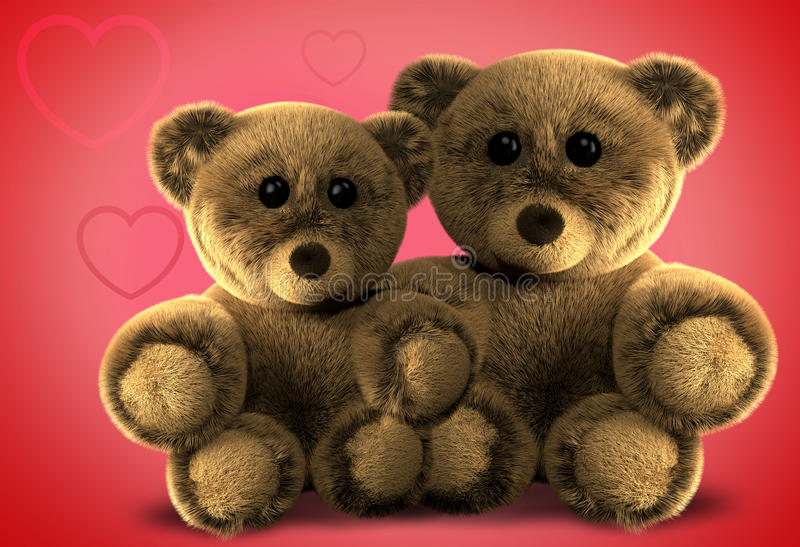 Deux ours bourrés pelucheux mignons 3d rendent illustration stock