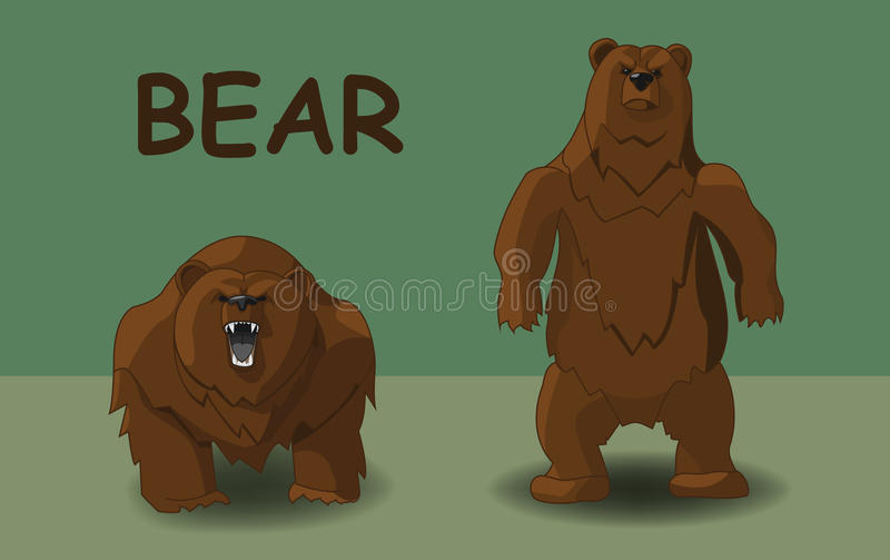 Deux ours dans diverses poses illustration de vecteur