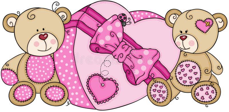 Deux ours de nounours avec le grand boîte-cadeau rose de coeur illustration de vecteur