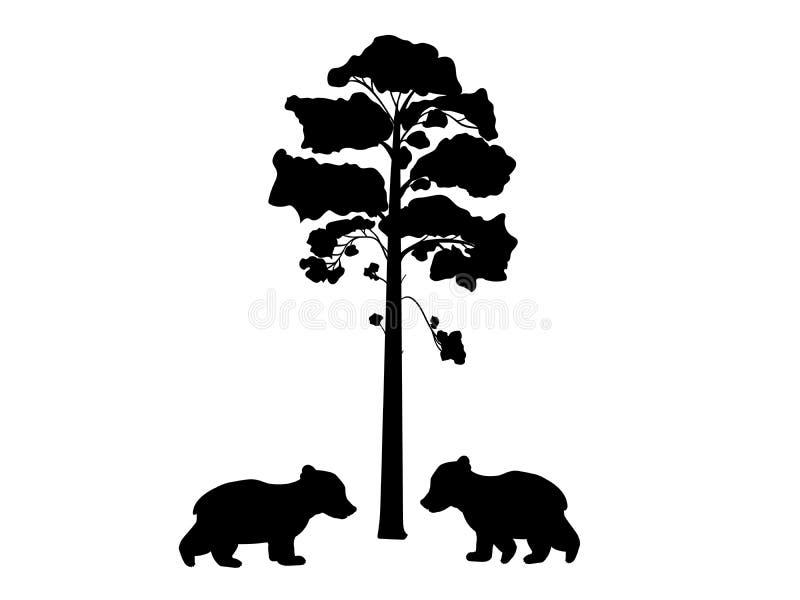 Deux ours de petit animal près d'animal de silhouette d'arbre illustration stock
