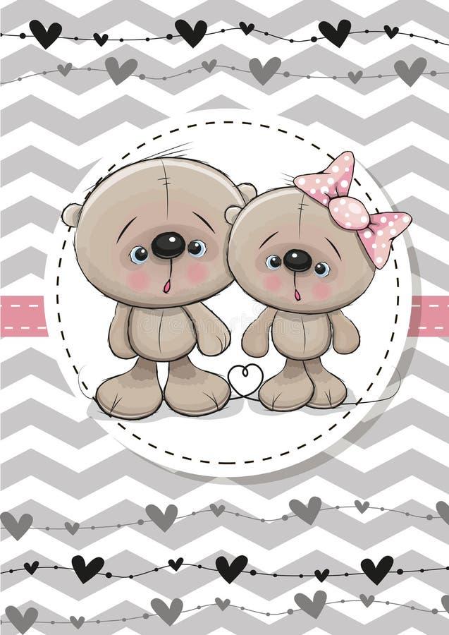 Deux ours mignons illustration de vecteur