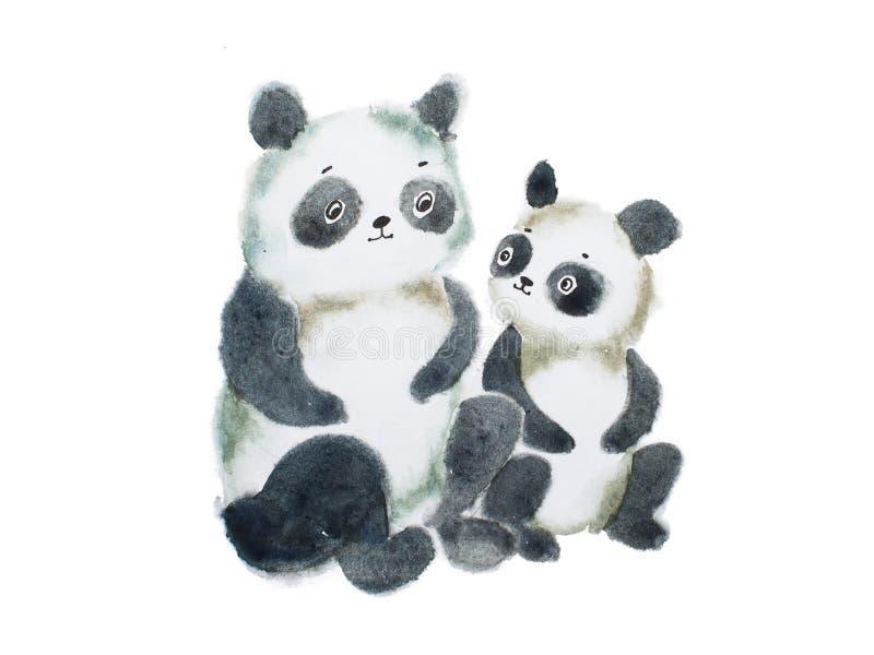 Deux ours panda velus mignons peints à la main avec des aquarelles illustration libre de droits