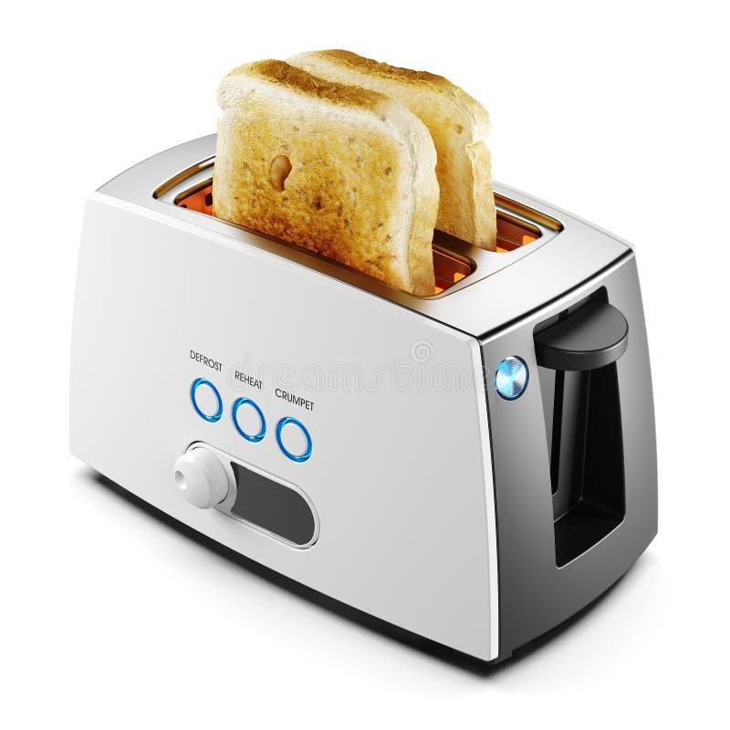 Deux pains grillés de pain dans un grille-pain ont isolé 3d illustration de vecteur