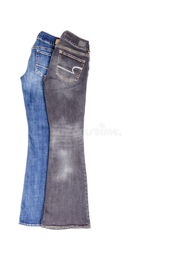 Deux paires de jeans évasés d'isolement photo libre de droits