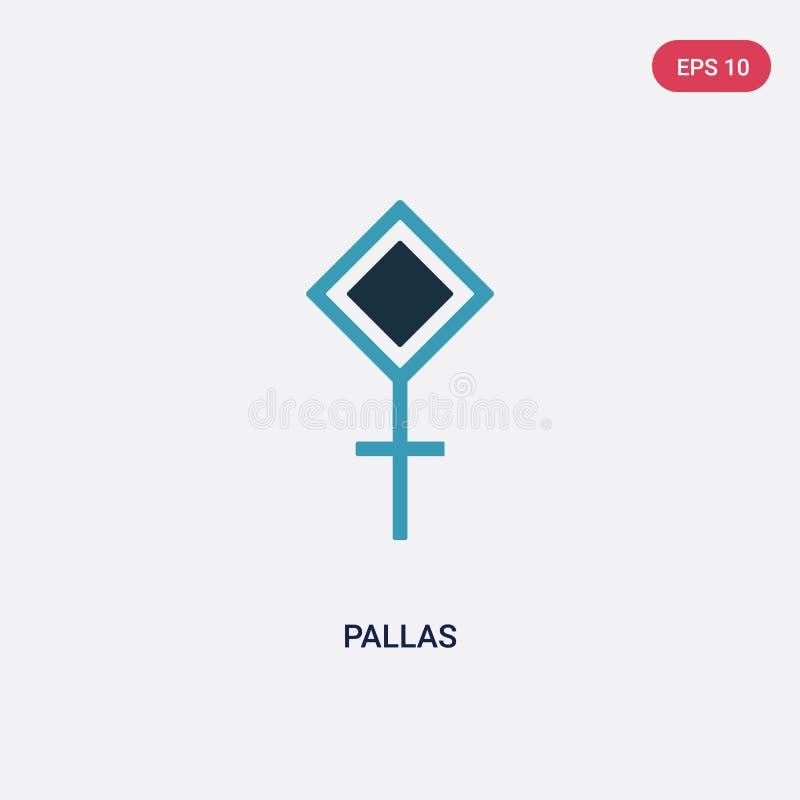 Deux pallas de couleur dirigent l'icône des formes et du concept de symboles le symbole bleu d'isolement de signe de vecteur de p illustration libre de droits