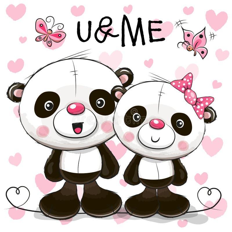 Deux pandas mignons de bande dessinée illustration de vecteur
