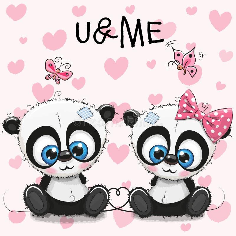 Deux pandas mignons sur un fond de coeurs illustration de vecteur