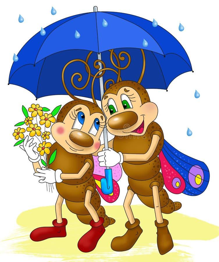 Deux papillons sous le parapluie, bande dessinée d'insectes images libres de droits