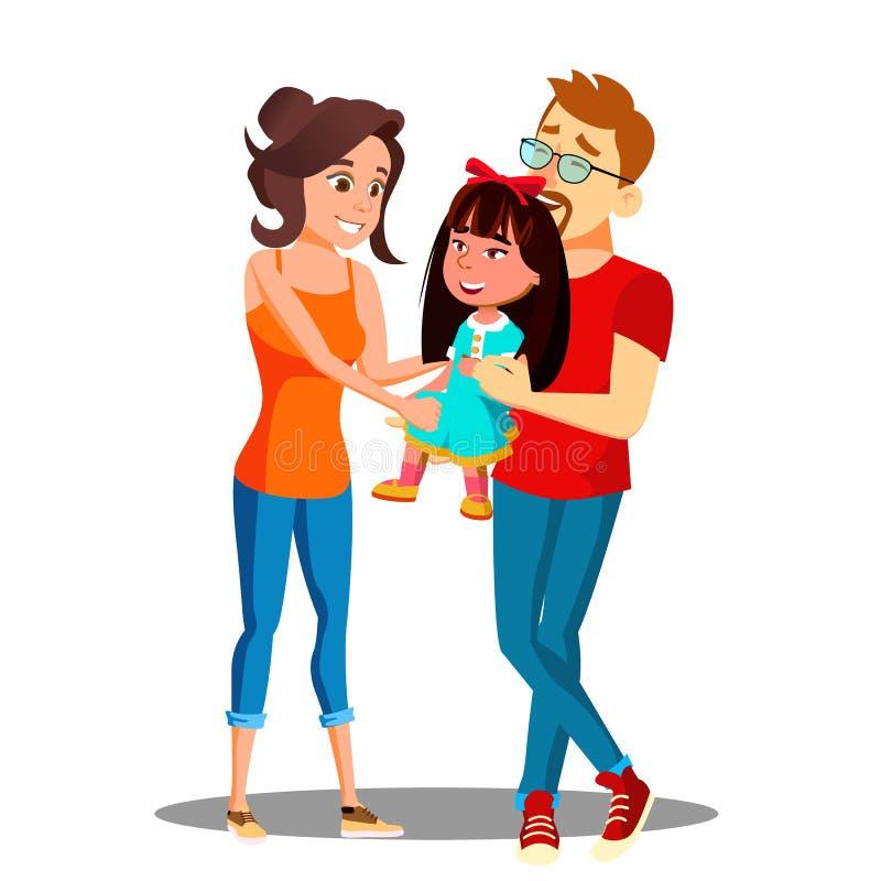Deux parents blancs tenant les mains du vecteur asiatique d'enfant adopté Illustration d'isolement illustration libre de droits