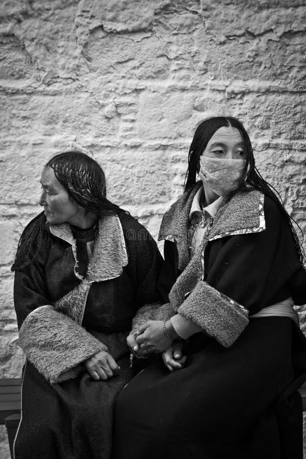 Deux passionnés du Palais du Potala Lhasa Tibet tenant des mains image libre de droits