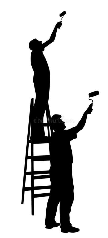 Deux peintres d'hommes peignant le mur illustration stock