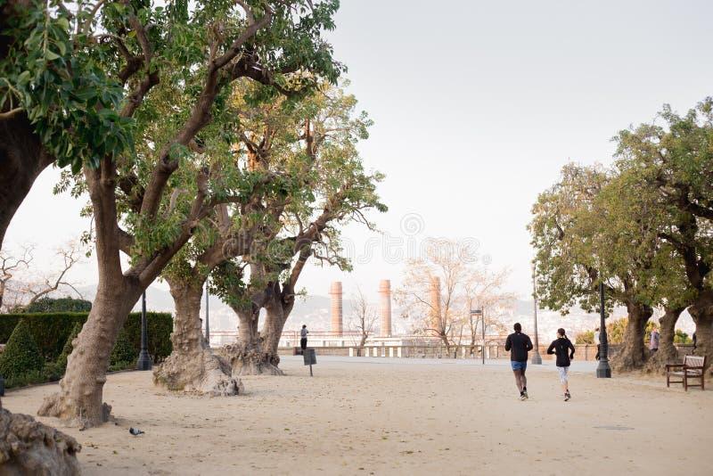 Deux personnes courent dans le parc image libre de droits