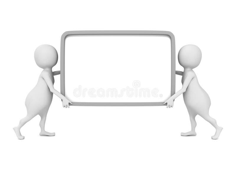 Deux personnes 3d portent la bannière vide d'infos d'enseigne dans des mains illustration stock