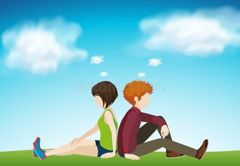 Deux personnes s'asseyant ensemble illustration de vecteur