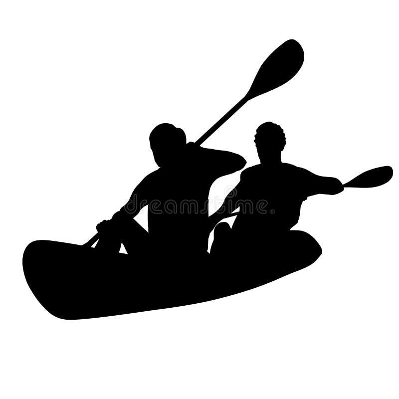 Deux personnes sur une silhouette d'isolement par kayak photos libres de droits
