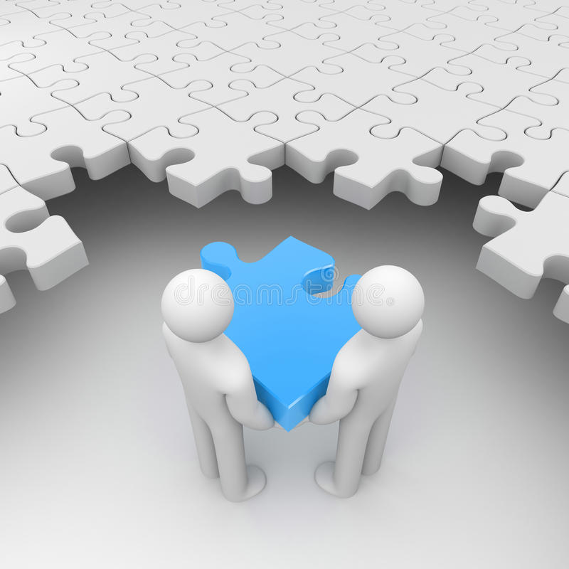 Deux personnes tenant le puzzle bleu illustration de vecteur