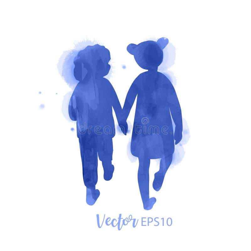 Deux petites amies tenant des mains Amitié de concept Type d'aquarelle Illustration de vecteur illustration de vecteur