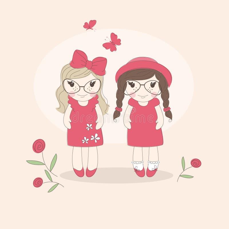Deux petites filles drôles. illustration de vecteur