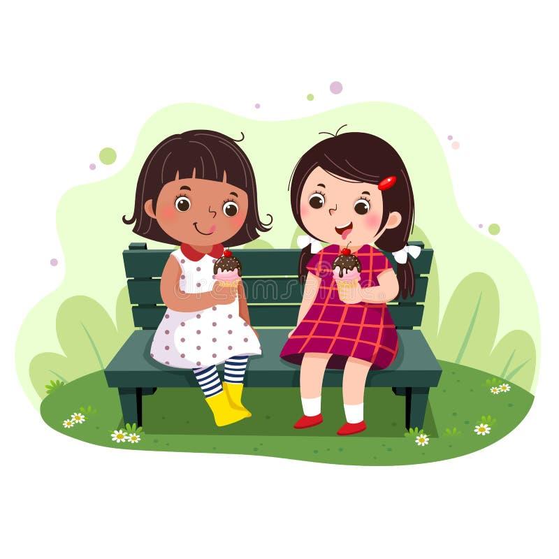 Deux petites filles mangeant la crème glacée sur le banc illustration de vecteur