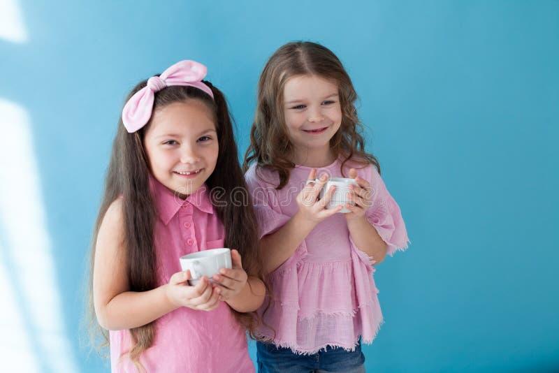 Deux petites filles sont des amies de soeurs dans une robe rose photos stock