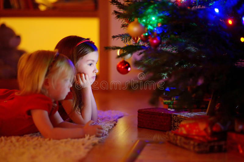 Deux petites soeurs recherchant des cadeaux sous un arbre de Noël image libre de droits