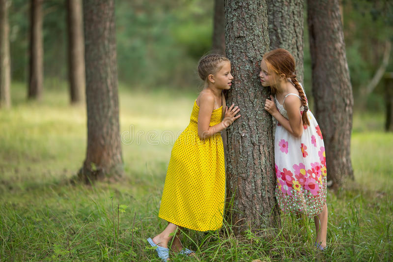 Deux petites soeurs se tenant parlantes près d'un arbre en parc Marche photographie stock