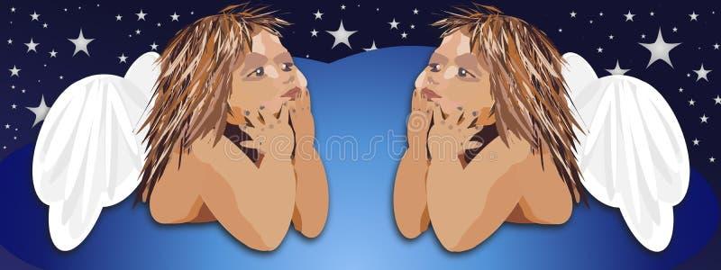 Deux petits anges mignons illustration libre de droits