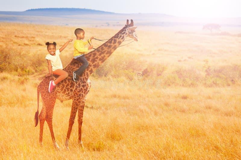 Deux petits enfants noirs montent une girafe en Afrique photos libres de droits