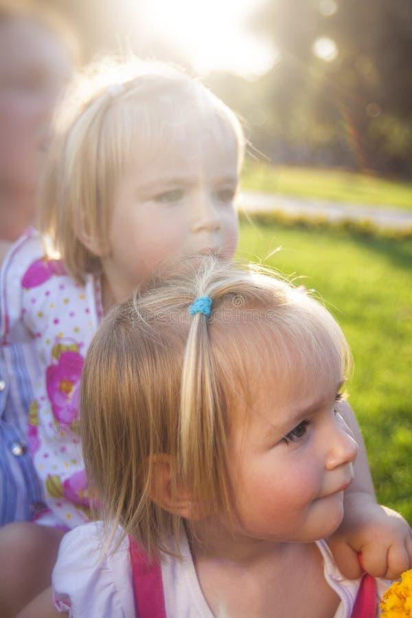 Deux petits jumeaux mignons en parc image stock