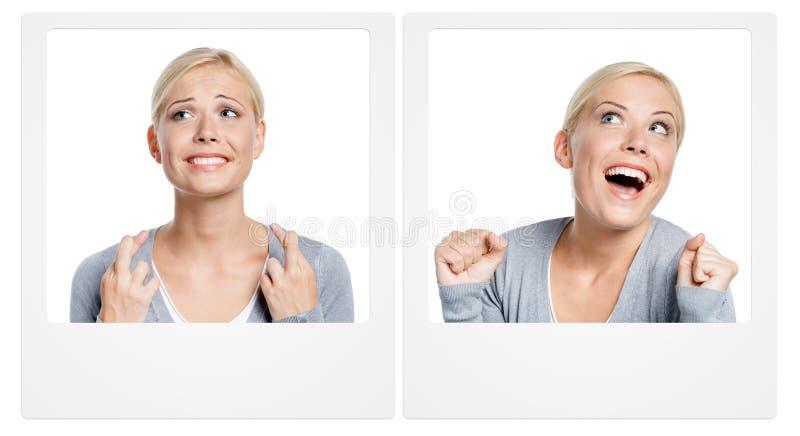 Deux photos avec la femme exprimant des émotions image libre de droits