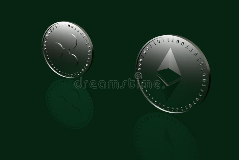 Deux pièces de monnaie avec des symboles de crypto devise numérique illustration libre de droits