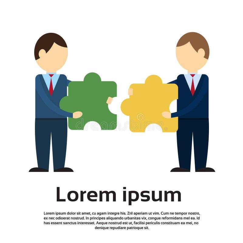 Deux pièces de puzzle de match d'homme d'affaires, succès de travail d'équipe illustration de vecteur