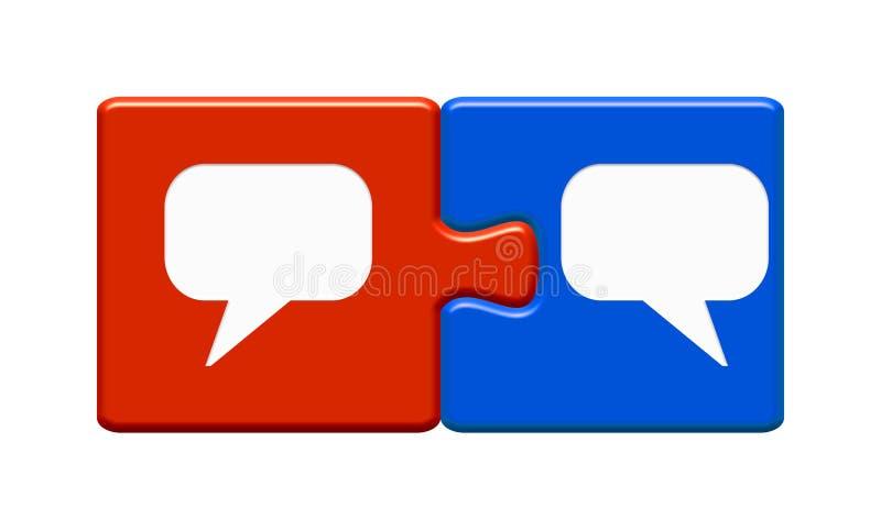 Deux pièces de puzzle rouge et bleu avec icônes de bulles vocales illustration de vecteur