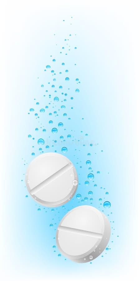 Deux pilules dans l'eau illustration de vecteur