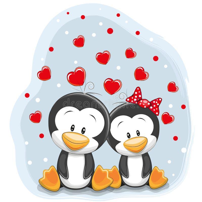 Deux pingouins mignons illustration libre de droits