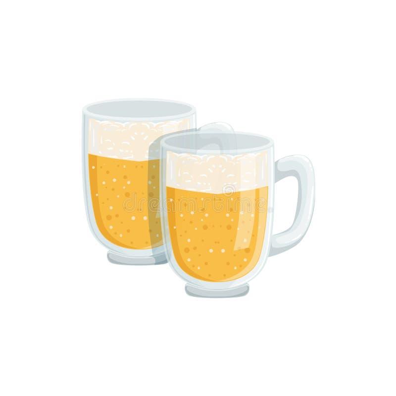 Deux pintes de Lager Beer mousseux, festival d'Oktoberfest boit la commande de menu de barre illustration stock