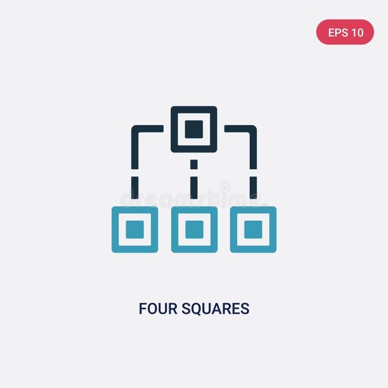 Deux places de la couleur quatre dirigent l'icône du concept de formes le symbole bleu d'isolement de signe de vecteur de quatre  illustration de vecteur