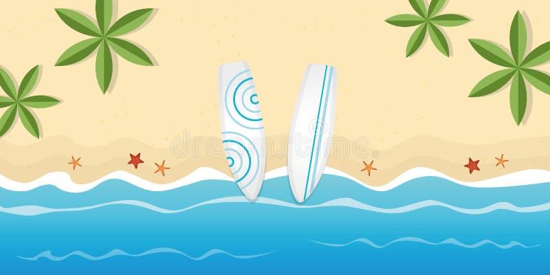 Deux planches de surf sur la plage avec des palmiers et des étoiles de mer illustration libre de droits