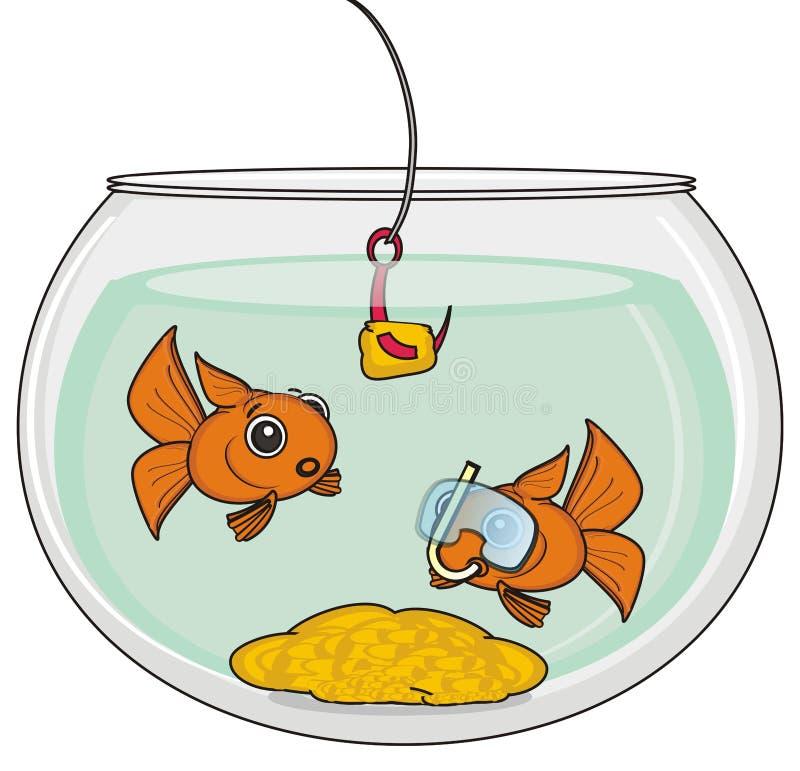 Deux poissons avec le masque illustration stock
