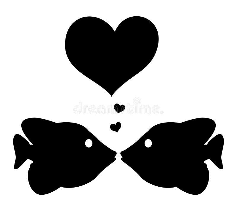 Deux poissons dans l'amour illustration de vecteur