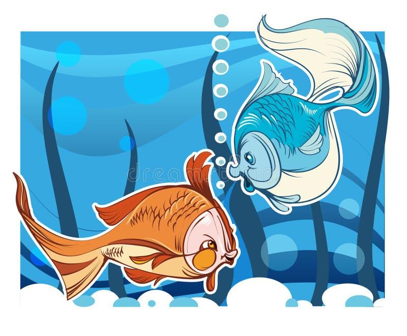 Deux poissons dans un aquarium illustration de vecteur