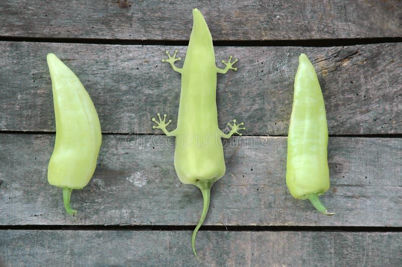 Deux poivrons verts avec un poivre vert de GM photographie stock libre de droits